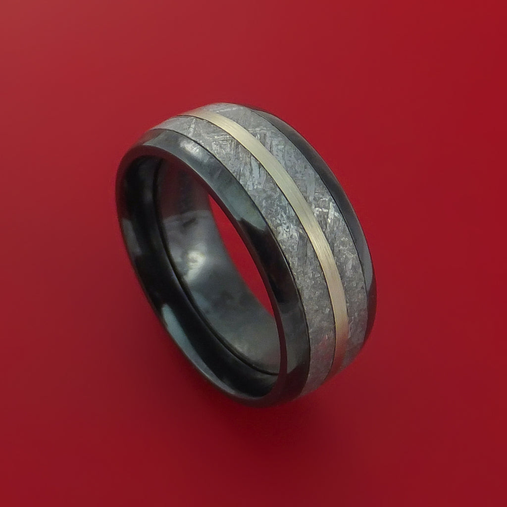 Black Zirconium Ring with Gibeon Meteorite and 14k White Gold Inlays Custom Made Band