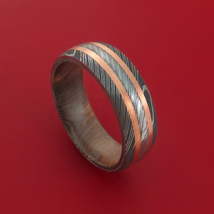 Damascus Steel Ring with Copper Inlay and Interior Hardwood Sleeve Custom Made Band