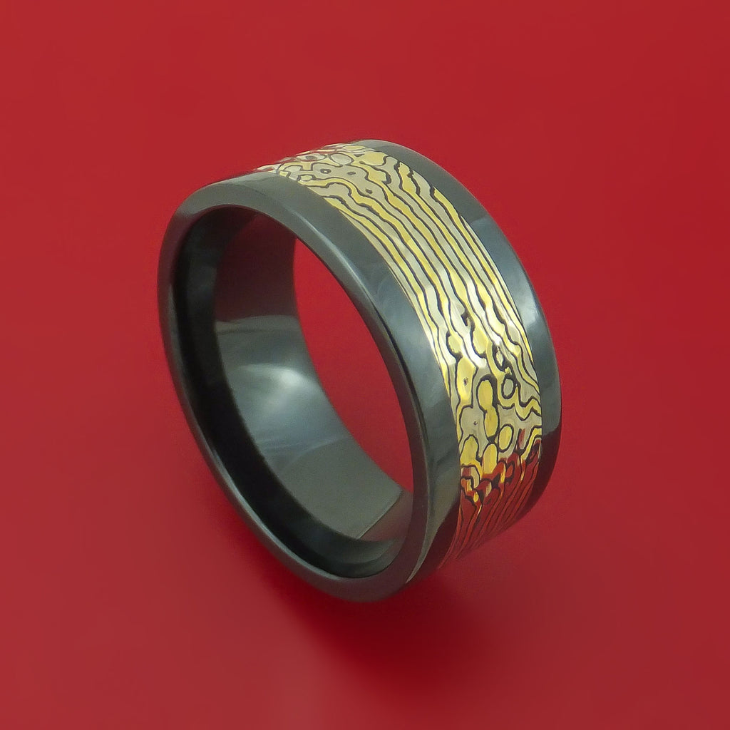 Black Zirconium and Yellow Gold Mokume Shakudo Hammered Ring Custom Made Band