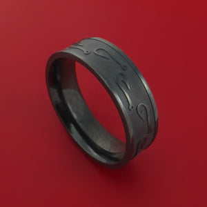 Black Zirconium Fish Hook Design Ring Custom Made Fishing Band