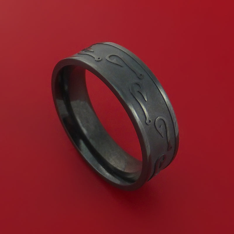 Black Zirconium Ring with Fish Hook Laser-Etched Pattern Inlay Custom Made Band
