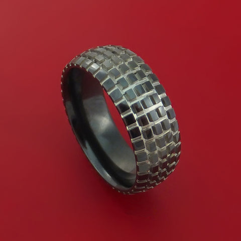 Black Zirconium Carved Tread Design Ring Bold Unique Band Custom Made to Any Sizing 4-22 by Stonebrook Jewelry