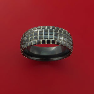 Black Zirconium Ring with Knob Tire Tread Pattern Inlay Custom Made Band