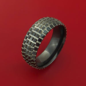 Black Zirconium Carved Tread Design Ring Bold Unique Band Custom Made to Any Sizing 4-22