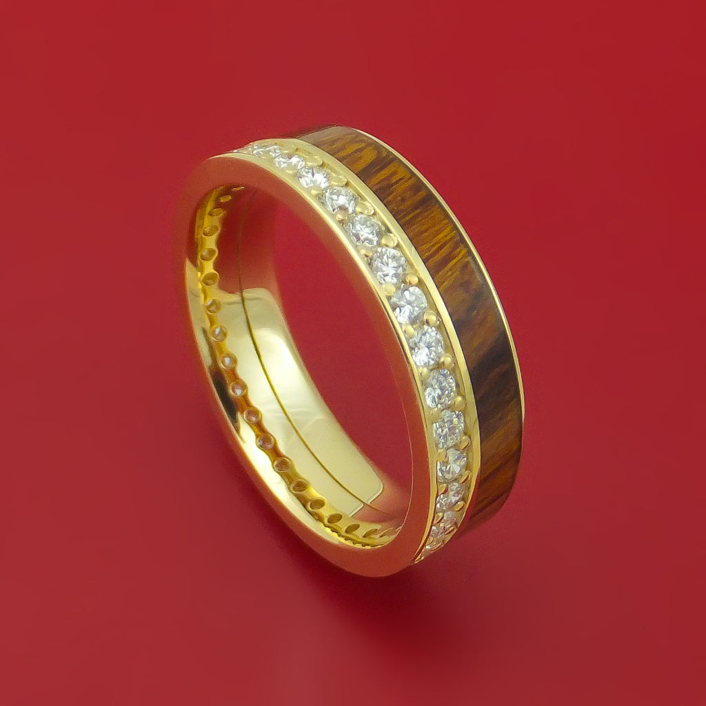 14k Yellow Gold Ring with Hardwood Inlay and Diamonds Custom Made Band