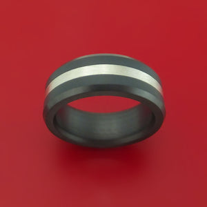 Elysium Black Diamond Wedding Band Beveled with Matte Finish with a Sterling Silver Inlay