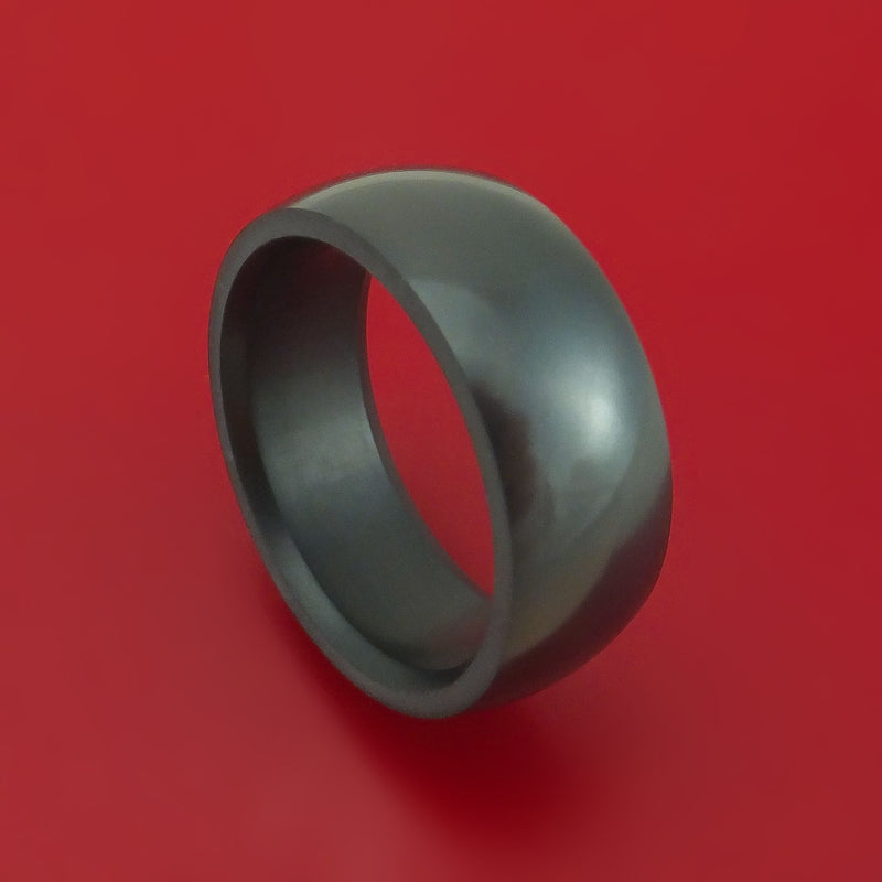 Elysium Black Diamond Wedding Band Domed with Polish Finish
