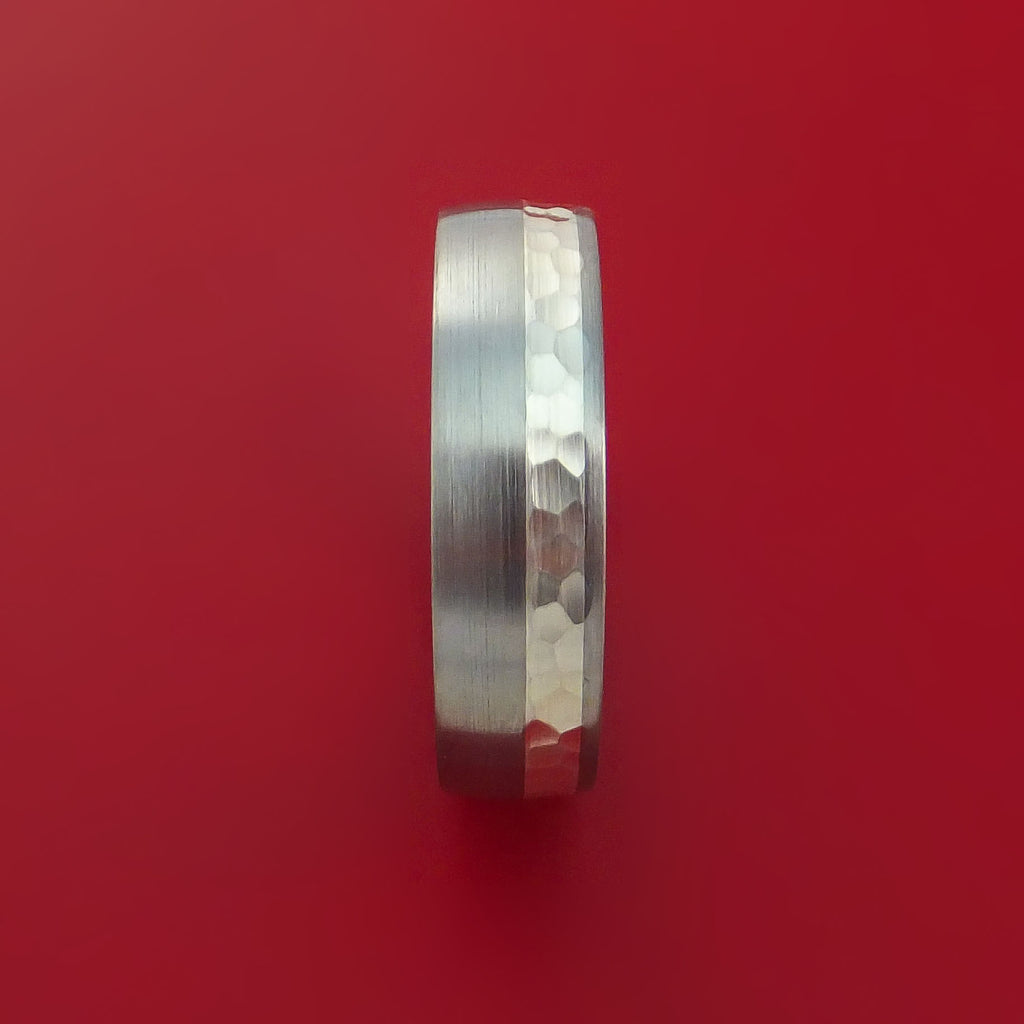Titanium and Silver Ring Hammered Wedding Band Custom Made by Stonebrook Jewelry