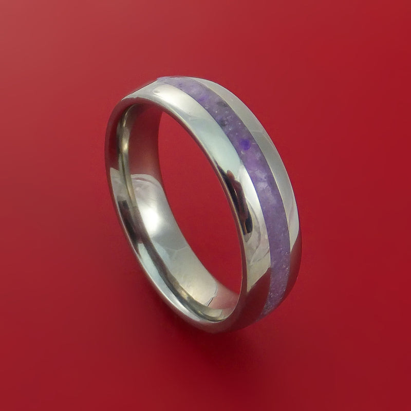 Titanium and Sugilite Ring Custom Made Wedding Band Lavulite