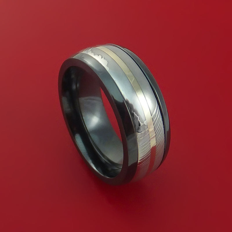 Black Zirconium Ring with Damascus Steel and 14k White Gold Inlays Custom Made Band