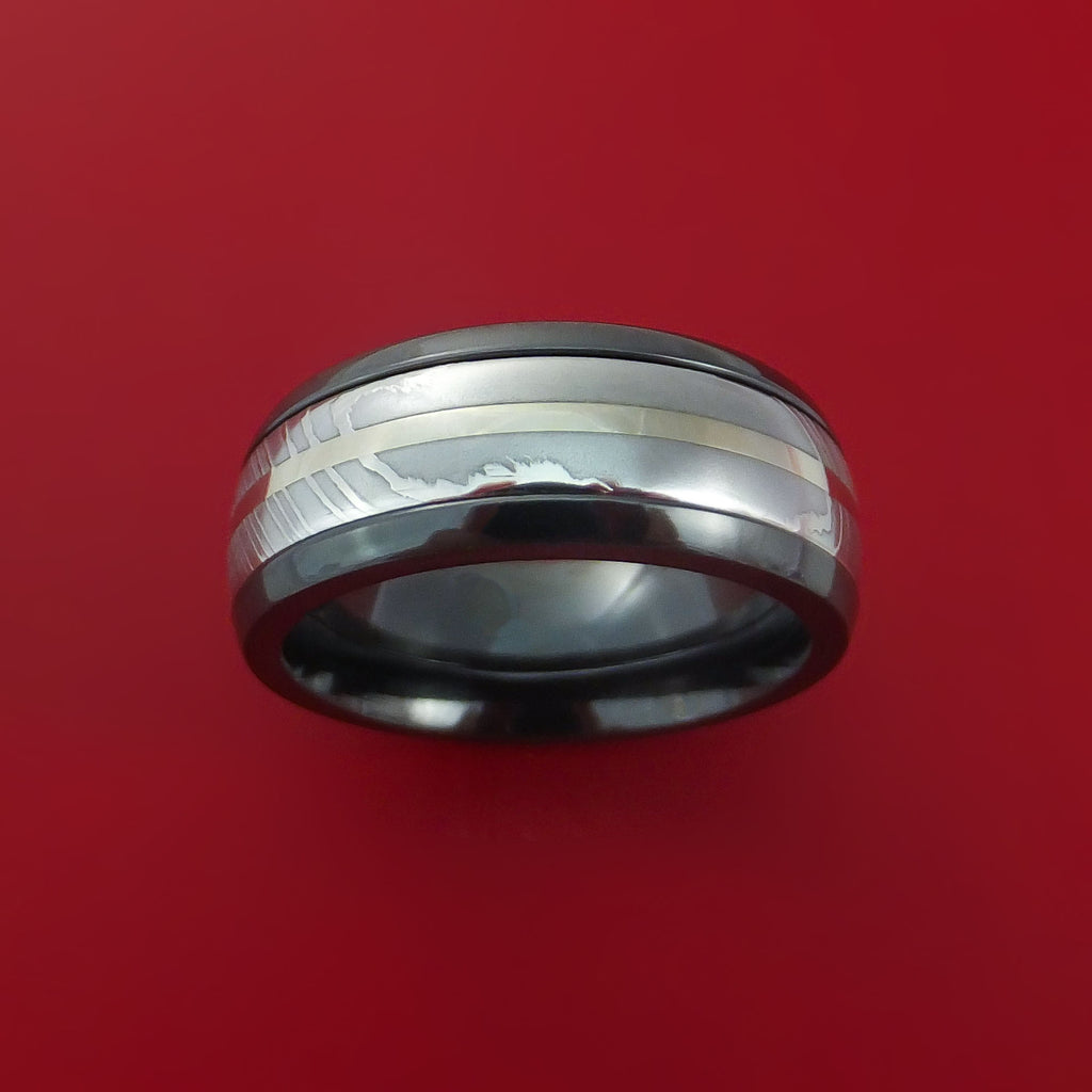 Black Zirconium and Damascus Steel Band 14K White Gold Center Custom Made Ring by Stonebrook Jewelry