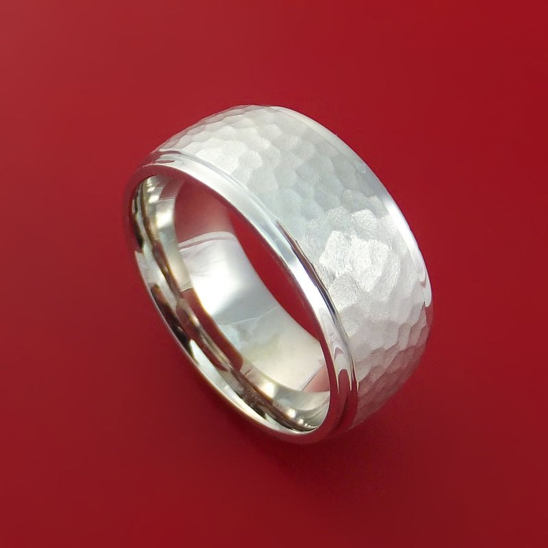 14K White Gold Hammered Ring Custom Made to Any Size Wedding Band