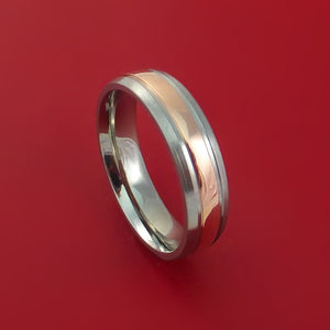 Titanium Ring with 14k Rose Gold Groove Surrounded Inlay Custom Made Band