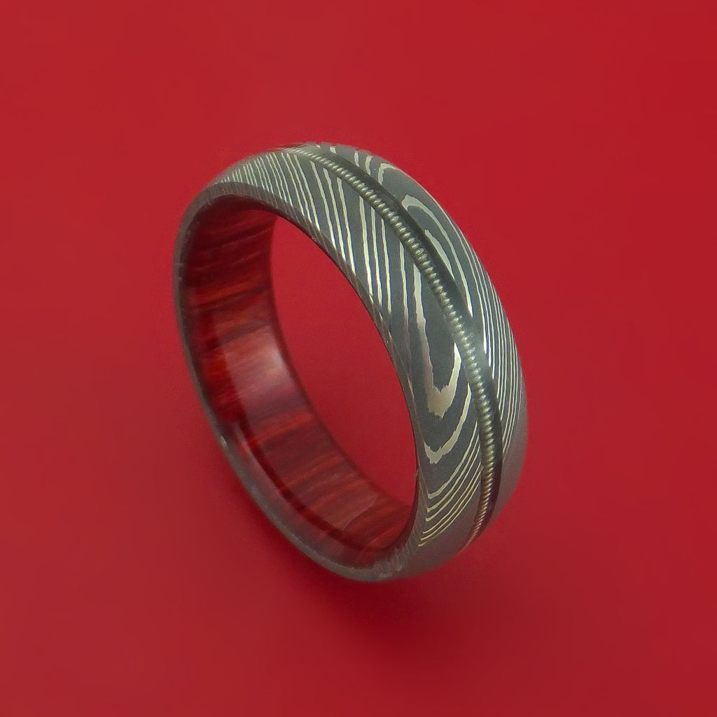 Damascus Steel Ring with Nickel-Wound Guitar String Inlay and Interior Hardwood Sleeve Custom Made Band