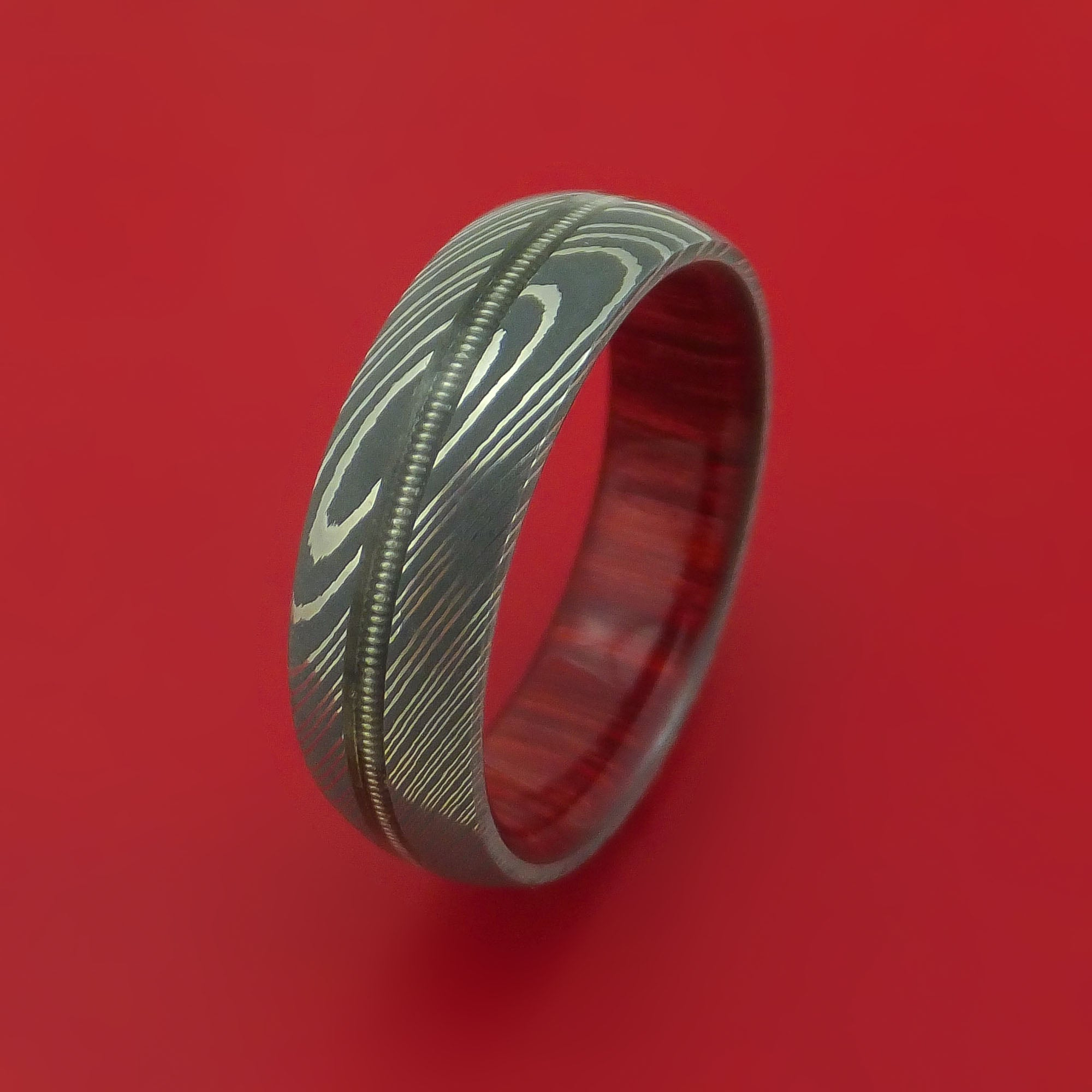 Damascus Steel Ring With Nickelwound Guitar String Inlay And Interior Hardwood Sleeve Custom Made: Red String Wedding Rings At Reisefeber.org