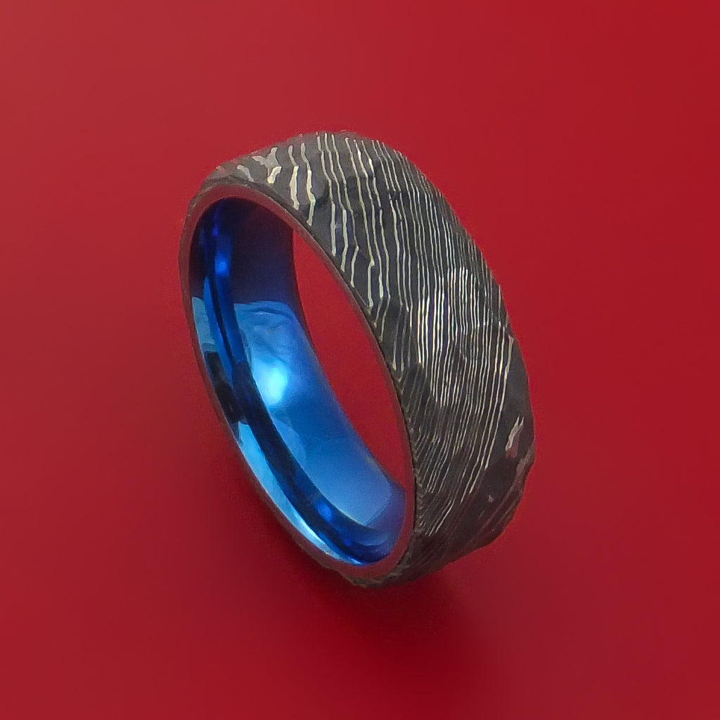 Hammered Damascus Steel Ring with Interior Anodized Titanium Sleeve Custom Made Band
