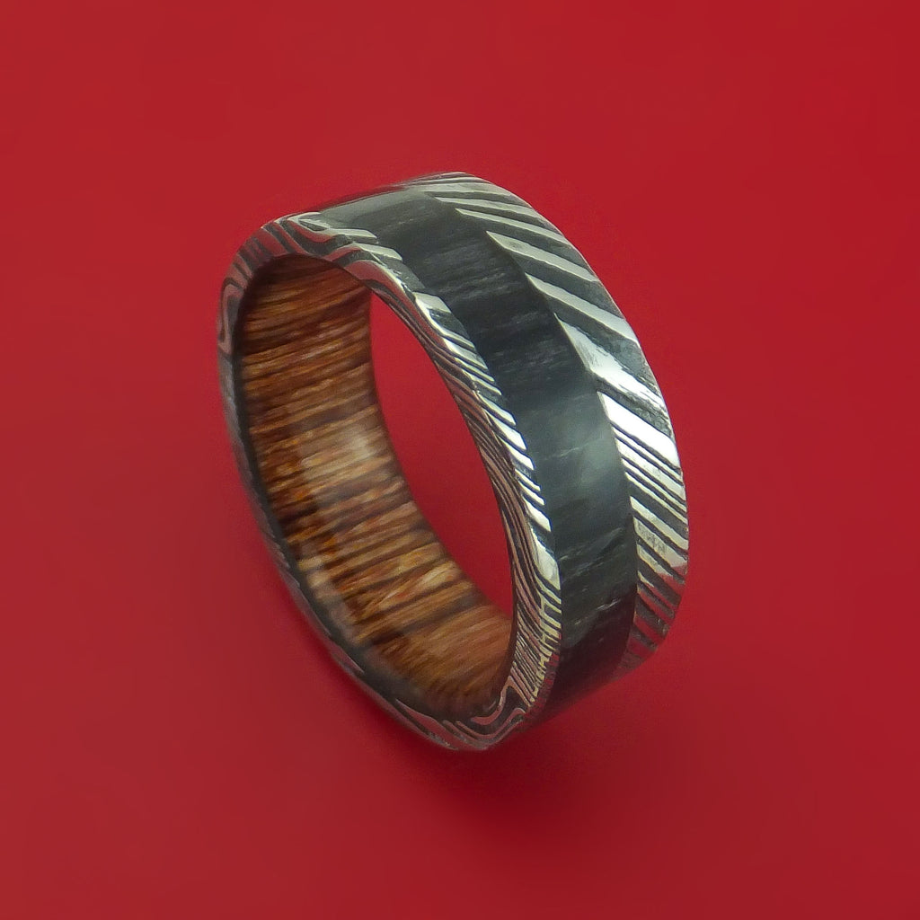 Kuro Damascus Steel Ring with Charcoal Wood Inlay and Heritage Brown Wood Sleeve Custom Made