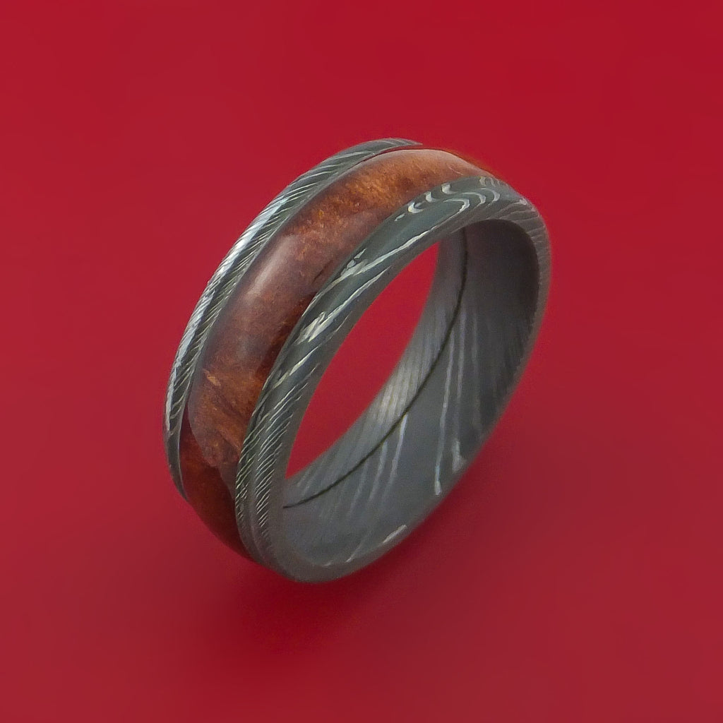 Wood Ring and DAMASCUS Ring inlaid with HERITAGE BROWN HARD WOOD Custom Made to Any Size and Optional Wood Types by Stonebrook Jewelry