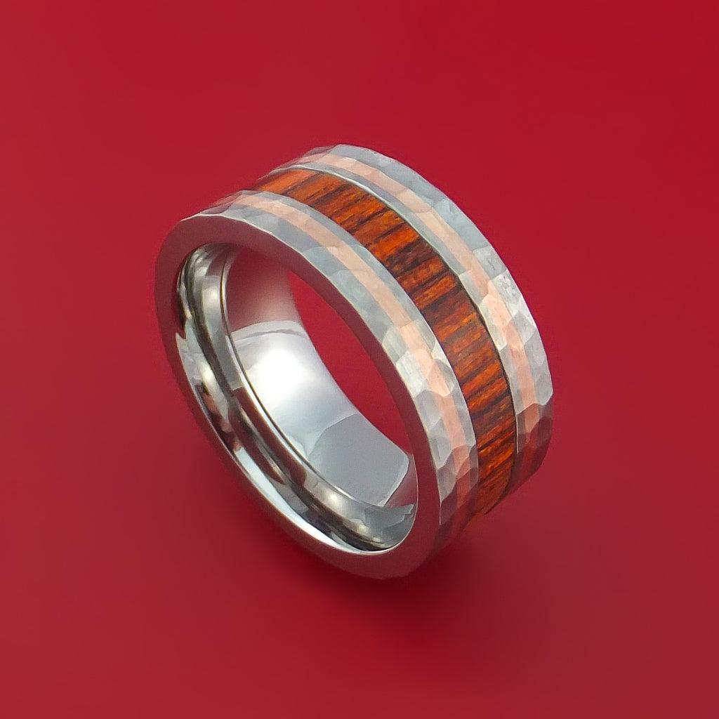 Titanium with 14K Rose Gold and Cocobolo Hardwood Hammered Ring Custom Made Band by Stonebrook Jewelry