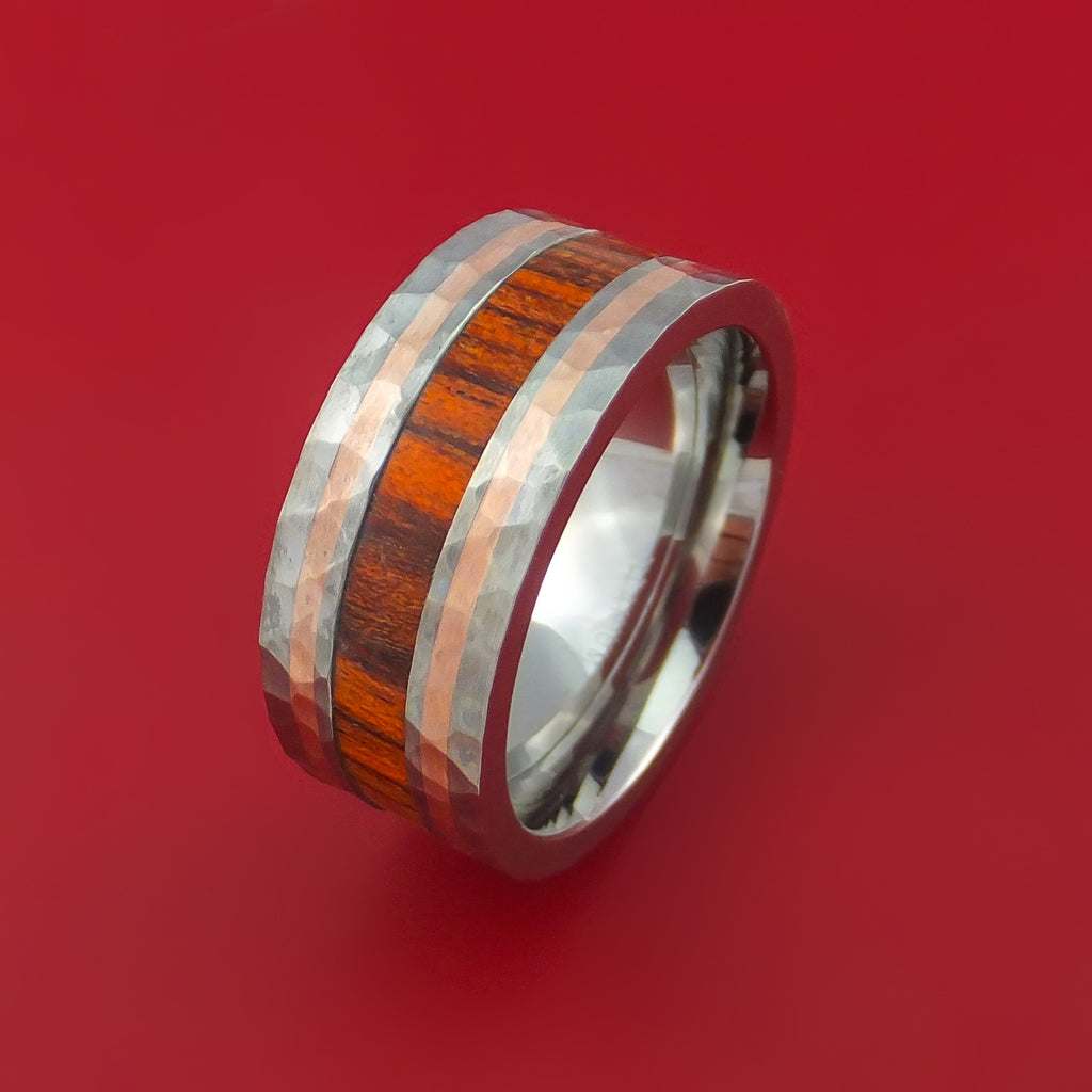 Titanium with 14K Rose Gold and Cocobolo Hardwood Hammered Ring Custom Made Band - Stonebrook Jewelry  - 3