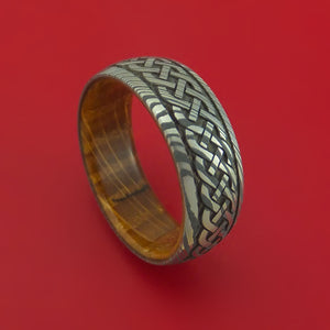 Damascus Steel Ring with Infinity Knot Milled Celtic Design Inlay and Interior Hardwood Sleeve Custom Made Band