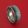 Kuro Damascus Steel Ring with Dinosaur Bone Gibeon Meteorite and Turquoise Inlays Custom Made Band
