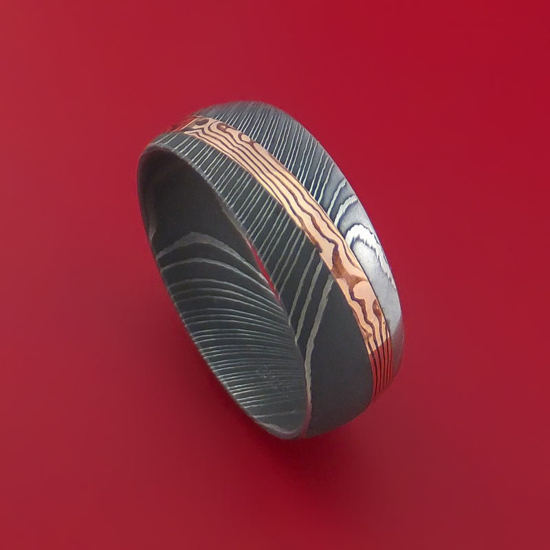 Damascus Steel Ring with Diagonal Rose Gold Mokume Shakudo Inlay Custom Made