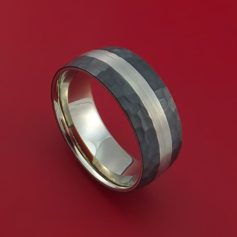 Wide Hammered Black Zirconium Ring with Lashbrook Platinum Rings Inlay and Interior 14k White Gold Sleeve Custom Made Band