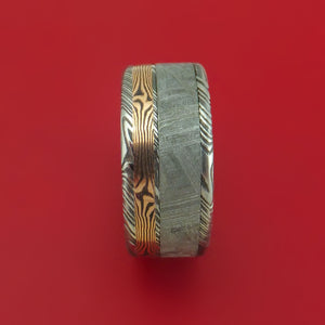 Kuro Damascus Steel Ring with Gibeon Meteorite and 14k Rose Gold Mokume Shakudo Inlays Custom Made Band