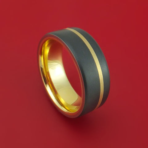 Black Zirconium and 14K Yellow Gold Band Custom Made Ring