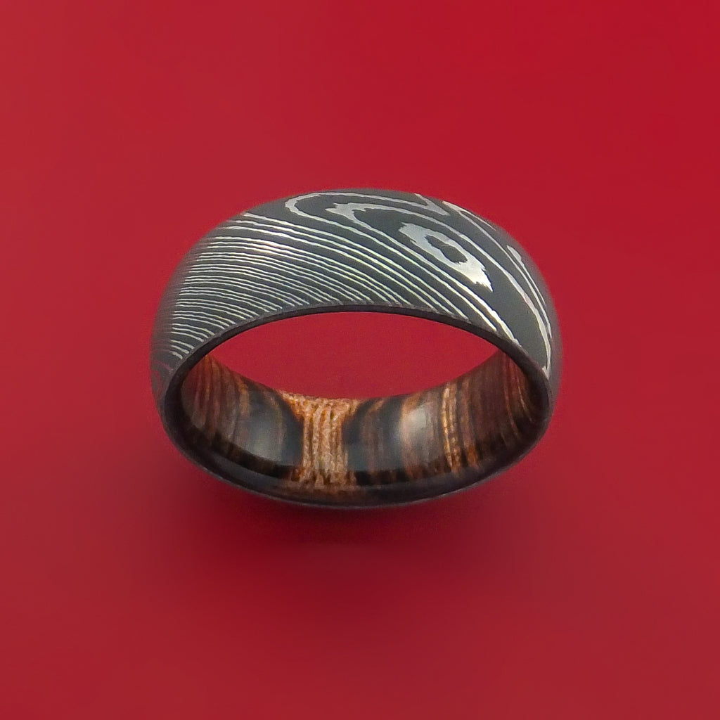 Damascus Steel Ring with Heritage Brown Hardwood Interior Sleeve Custom Made - Stonebrook Jewelry  - 3