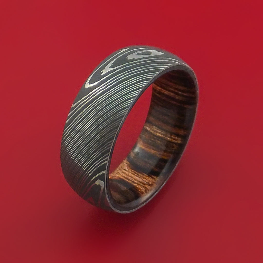 Damascus Steel Ring with Heritage Brown Hardwood Interior Sleeve Custom Made - Stonebrook Jewelry  - 4