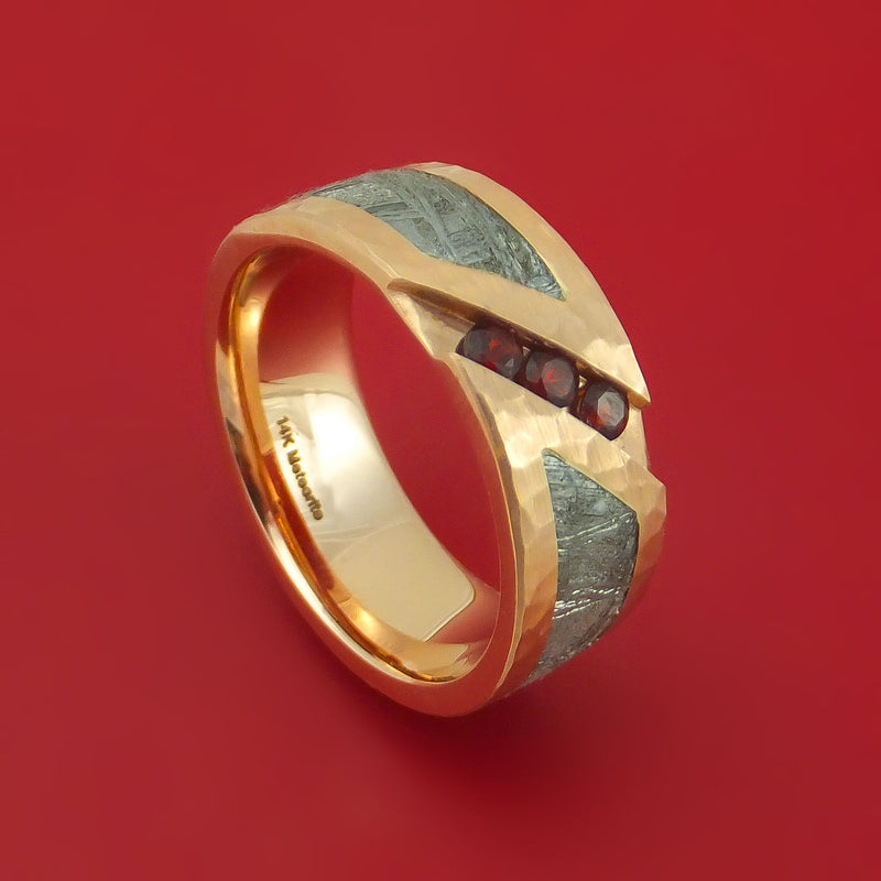 14k Rose Gold Ring with Gibeon Meteorite Inlay and Red Garnet Custom Made Band