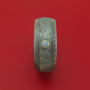 Damascus Steel Ring with Gibeon Meteorite Inlay and White Opal Custom Made Band