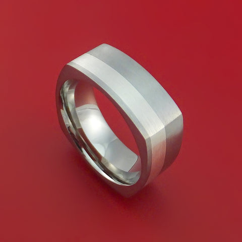 Titanium Ring with Silver Inlay Square Band any Sizing from 3-22 Modern Design