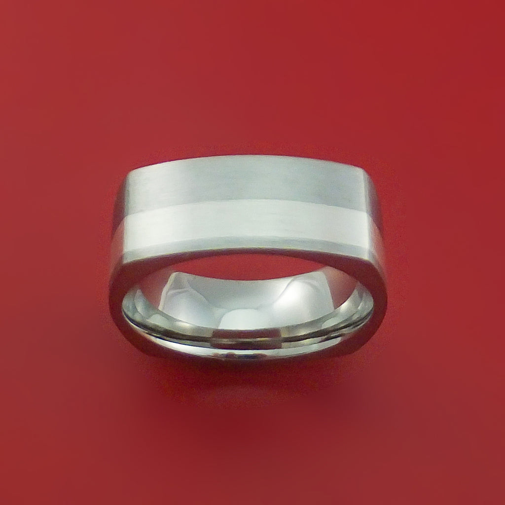 Titanium Ring with Silver Inlay Square Band any Sizing from 3-22 Modern Design by Stonebrook Jewelry