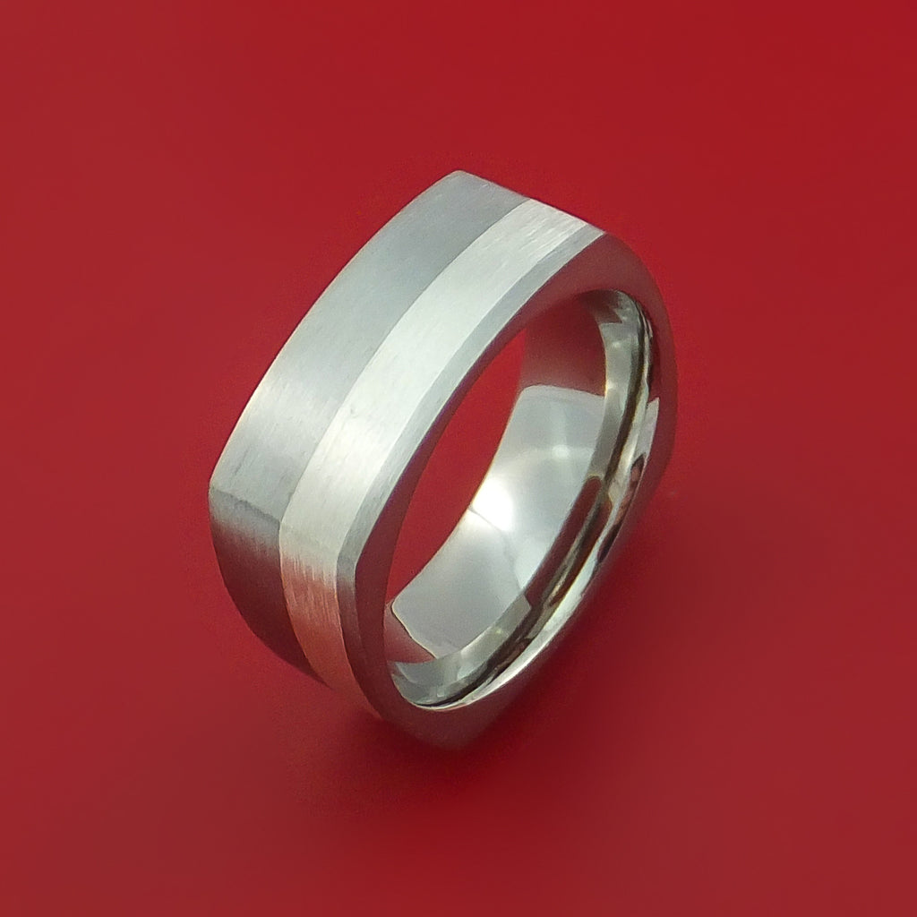 Titanium Ring with Silver Inlay Square Band any Sizing from 3-22 Modern Design - Stonebrook Jewelry  - 4
