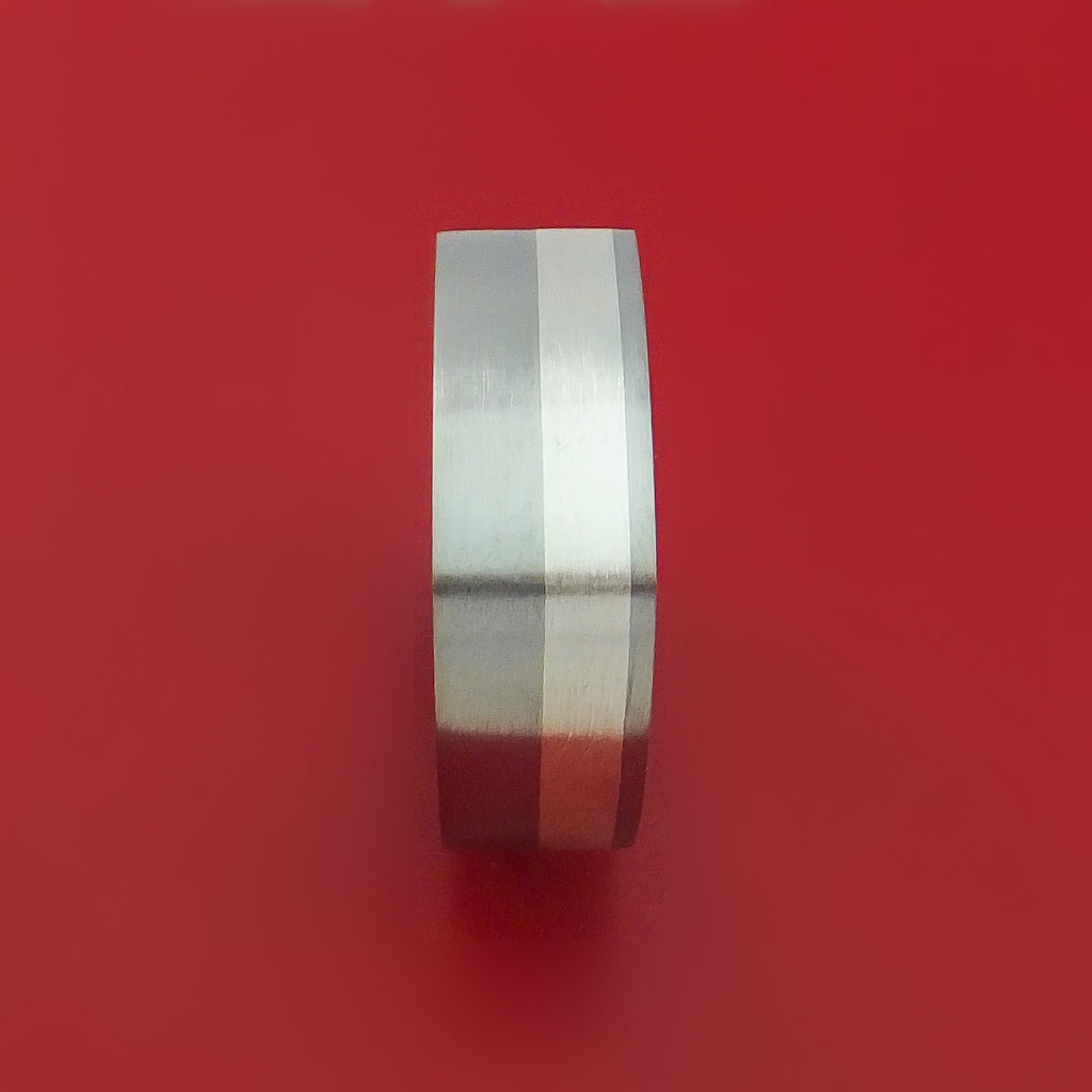 Titanium Ring with Silver Inlay Square Band any Sizing from 3-22 Modern Design - Stonebrook Jewelry  - 3