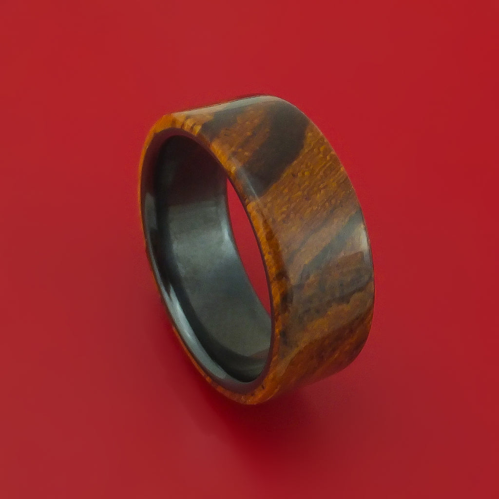 Zebrawood and Black Zirconium Band Custom Made Wood Ring