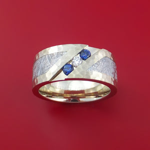 10k White Gold Ring with Gibeon Meteorite Inlay Sapphires and Diamond Custom Made Band