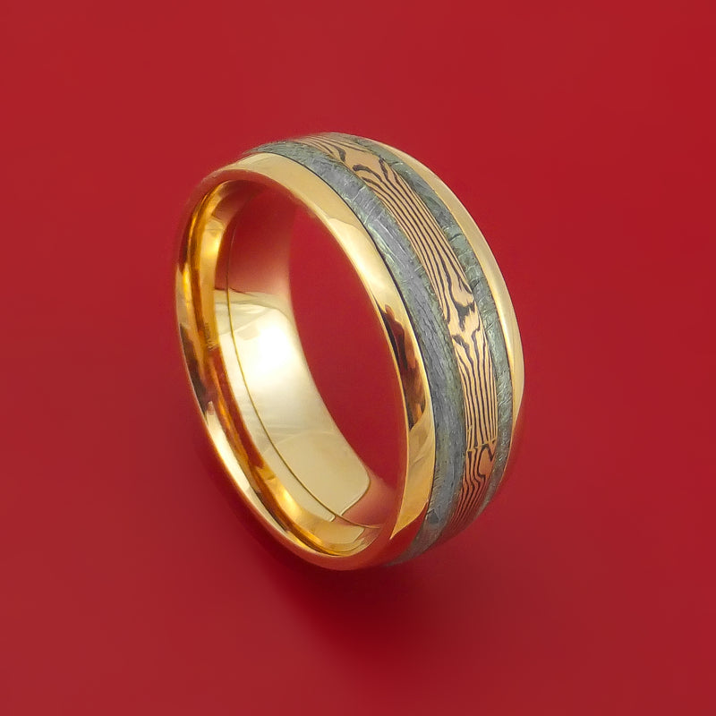 18K Yellow Gold Ring with Gibeon Meteorite and 14k Rose Gold Mokume Shakudo Inlays Custom Made Band