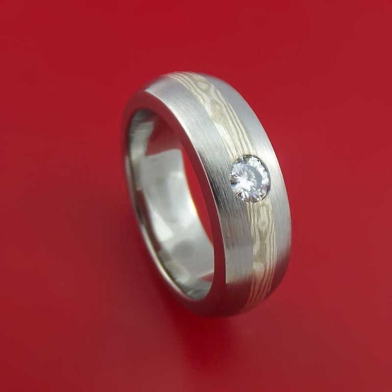 Titanium Ring with Palladium and Sterling Silver Mokume Gane Inlay and Flush-Set Moissanite Custom Made Band