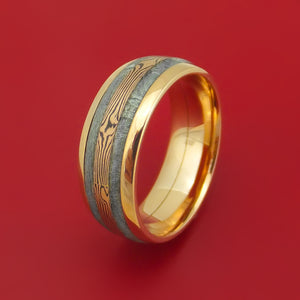 18K Rose Gold Ring with Gibeon Meteorite and 14k Rose Gold Mokume Shakudo Inlays Custom Made Band