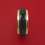 14K Rose Gold and Black Zirconium Celtic Claddagh Band Custom Made Ring