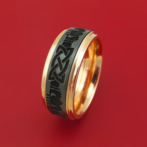 14k Rose Gold Ring with Black Zirconium Claddagh Etched Celtic Design and Cerakote Inlays Custom Made Band