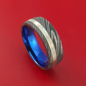 Damascus Steel Ring with Palladium and Sterling Silver Mokume Gane Inlay and Interior Anodized Titanium Sleeve Custom Made Band