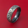 Black Zirconium Cycle Tire Tread Textured Carved Ring