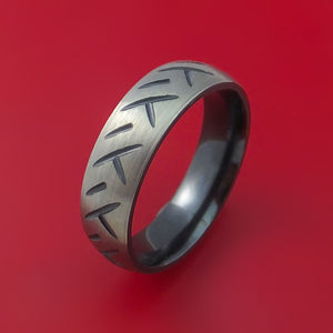Black Zirconium Ring with Cycle Tire Tread Pattern Inlay Custom Made Band