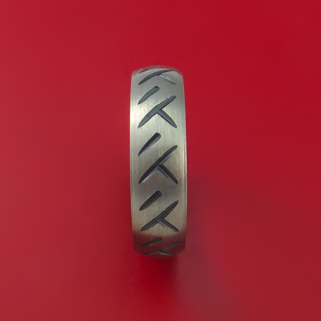 Black Zirconium Cycle Tire Tread Textured Carved Ring by Stonebrook Jewelry