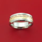 Cobalt Chrome and 14k Yellow and Rose Gold Inlay Custom Made Band